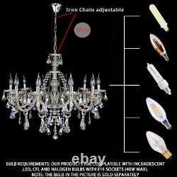 10 Arms Chandelier K9 Crystal Glass Ceiling Light Candle Pendant Lamp E14 Cognac