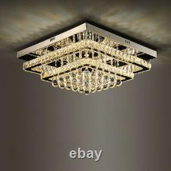 2 Tier Modern Square Large LED Crystal Ceiling Light Chandelier Lamp Dimmable