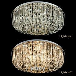 3 Colours Genuine Crystal Ceiling Light +Bluetooth Speaker Modern Lamp Remote UK