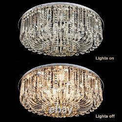 3 Colours + Remote Ctrl Bluetooth Genuine Crystal Flush Ceiling Light Chandelier