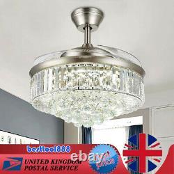 36/42 Modern Crystal Ceiling Fan Light LED Chandelier Remote Control 4 Blades