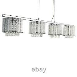 4 Light Ceiling Bar Clear Crystal Drops Aluminimum Tubes Trim Home Lighting Lamp