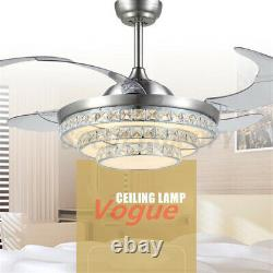 42'' Ceiling Fan Crystal Light Living Room Chandelier Fixture + Remote Control