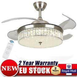 42'' Crystal Ceiling Fan Light LED Dimmable Retractable Blade Lamp 3Speed Remote