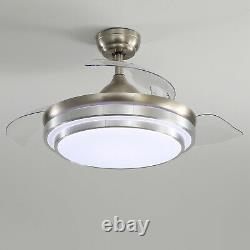 42 LED Ceiling Fan With 3 Color Light 4 Invisible Blades Remote Control 3 Speed