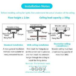 42'' Modern Ceiling Fan Light LED Dimmable Retractable Blade Lamp 3 Speed Remote