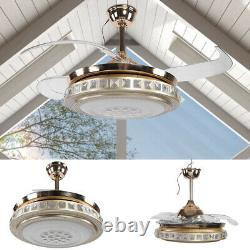 42Crystal Ceiling Fan Light Remote Control Chandelier LED Lamp&Retractable Blade