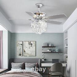5-Blades 52 Inch Ceiling Fan LED Light Chandelier with Remote 3 Speed Timer Lamp