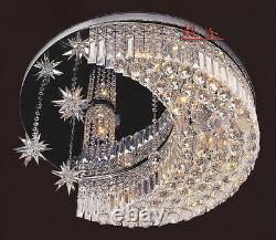 50cm Modern Moon+star LED Crystal Lobby Ceiling Light Restaurant pendant Lamp