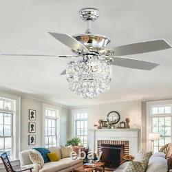 52'' Luxe Crystal Ceiling Fan Light Remote Control/Timer/5 Blades Living Bedroom