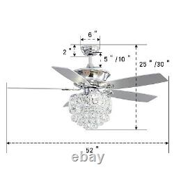 52'' Luxury Crystal Lamp Shade Ceiling Fan Light With Remote Control 5 Blades