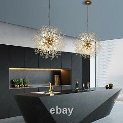 9 Lights Dandelion Sputnik Chandelier Fireworks Ceiling Pendant LED Fixture Gold