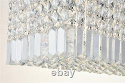 A1A9 Genuine Clear Crystal Glass Chandelier Rectangular 5-Lights Ceiling Light