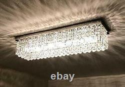 A1A9 Luxury Clear K9 Crystal Chandelier Lights Rectangular Ceiling Fixture