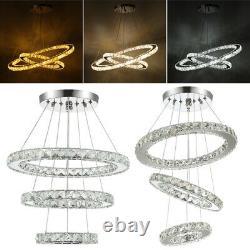 Adjustable LED Crystal Pendant Light Ring Chandelier Ceiling Lamp +Remote Choose