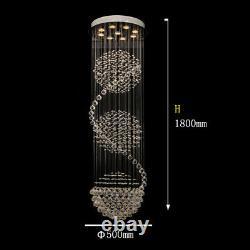 Aglow INT Modern Spiral Ceiling Pendant Chandelier K9 Crystal Raindrop