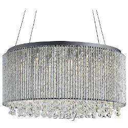 Beatrix Chrome 8 Light Drum Ceiling Pendant Light Fitting With Crystal Buttons