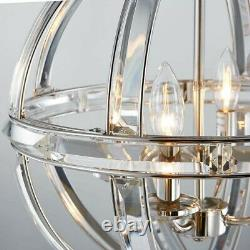 Bestier Polished Nickel Pendant Chandelier Crystal Ceiling Light
