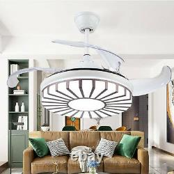 Ceiling Fan with Light Remote Control LED Lamp Dimmable Bedroom Office Modern UK