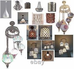 Ceiling shade Moroccan Vintage Retro Crystal Modern Bronze Antique Pendant