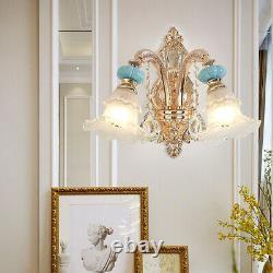 Chandelier Geniune K9 Crystal Blue Ceramic Gold Metal Arms Pendant Ceiling Lamp