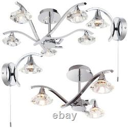 Chrome Clear Crystal Indoor LightsMatching Wall & Ceiling Pendant Lamp Fittings