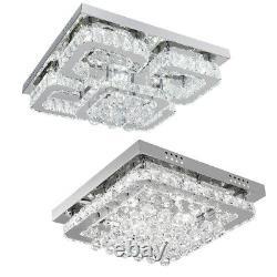 Chrome Crystal Shining Ceiling Light LED Chandelier Lamp Mount Living Bedroom UK
