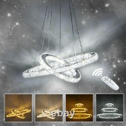 Circular LED Ceiling Light Crystal Chandelier Dimmable Hanging Lights Pendant UK