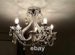 Classic 5-Arms Ceiling Light Clear Crystal Chrome Pnadant Lamp Chandeliers Light