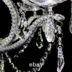 Classic Crystal&Glass Chandelier Chrome Finished 5-Light Ceiling Lamp