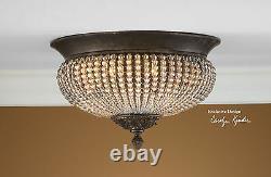 Cristal De Lisbon Crystal Beads Aged Iron Flush Mount Ceiling Chandelier Light