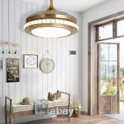 Crystal 42 Ceiling Fan Light with Remote Control 3 Color LED Dimmable 4 Blades