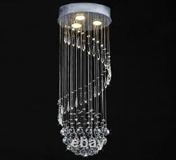 Crystal droplet ceiling lamp chandelier light spiral shape design 30x80cm IDERUM