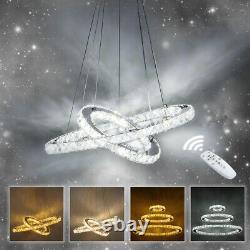 Dimmable Crystal Pendant Light 2/3 Ring LED Chandelier Ceiling Lamp 220V +Remote