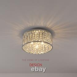 Emilia Crystal Drum Flush Ceiling Light Chrome RRP £175