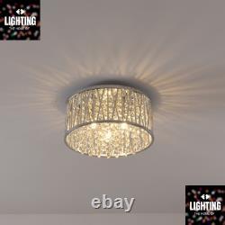 Emilia Design Crystal Drum Flush Ceiling Light Chrome RRP £195