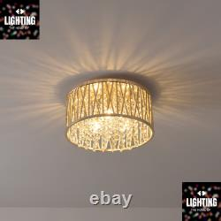 Emilia Design Crystal Drum Flush Ceiling Light, Gold RRP £175