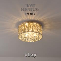 Emilia Design Crystal Drum Flush Ceiling Light, Gold RRP £195