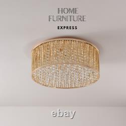 Emilia Design Large Crystal Drum Flush Ceiling Light 48 cm, Gold RRP £295