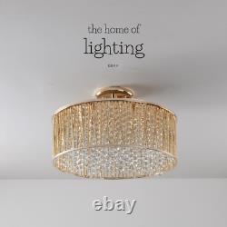 Emilia Design Large Crystal Drum Semi flush ceiling Light Gold RRP £295