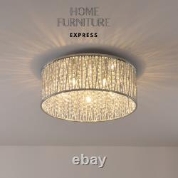 Emilia Design Large Crystal Drum flush ceiling Light Chrome 48cm RRP £295
