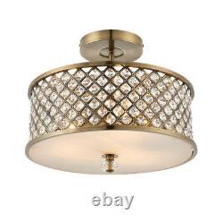 Endon 70558 Hudson 3 Light Semi Flush Ceiling Fitting Antique Brass & Crystal
