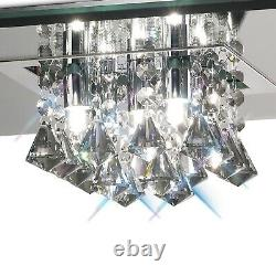 Flush Crystal Chandelier 5 Light Low Ceiling G9 Polished Chrome Smoked Mirror