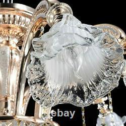 Geniune K9 Crystal Chandelier Golden 6 Metal Arms Pendant Ceiling Lamp E14 Bulbs