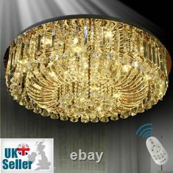 Genuine Crystal Ceiling Light +Bluetooth Speaker Chandelier Lamp Remote 3 Colour