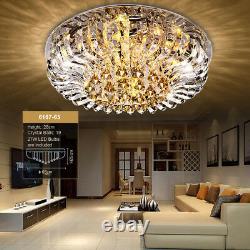 Genuine Crystal Chandelier Flush Ceiling Light 3 Colours + Remote CTRL Bluetooth