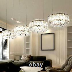 Globo Luxury LED K9 Crystals Chrome 4 Lights Ceiling Pendant Hanging Lamp