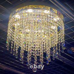 Gold Crystal Chandelier Ceiling light Lamp Large Flush Lighting ITPL40LedPencil