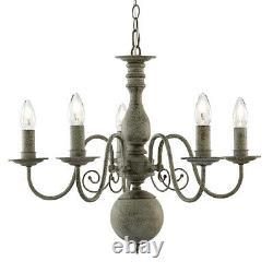 Greythorne 5 Light Textured Ceiling Light Fitting Traditional Chandelier Pendant