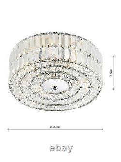 John Lewis Dar Errol Crystal Semi Flush Ceiling Light Chrome